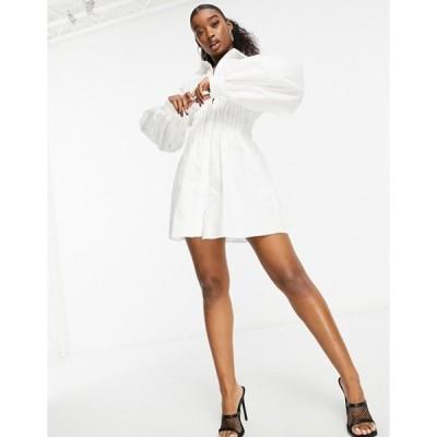 ミスガイデッド レディース ワンピース トップス Missguided shirt dress with cinched waist in white