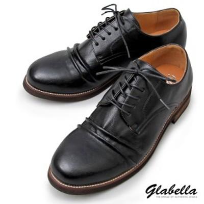 オックスフォード シューズ 靴 メンズ 紐靴 アンティーク加工 レースアップ PUレザー ドレープ(ブラック黒) glbt159