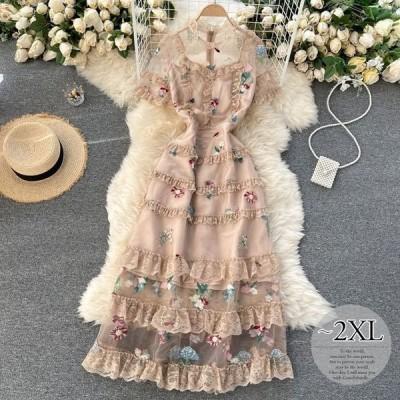 ラウンドネックドレス袖フリルフリル襟透け感シースルーエレガントフラワーロマンティック刺繍ガーリー定番女子会大人可愛い