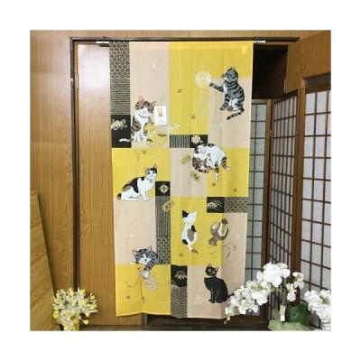 のれん ロング丈 おしゃれ 和風 「貼り絵七福ねこ」 長尺ロング丈 170cm ネコ 招き猫 日本製 暖簾 ポリエステル100% ねこ 猫