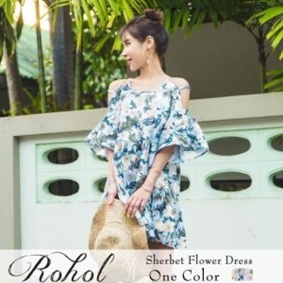 リゾートワンピース レディース オフショル 体型カバー サマードレス シンプル セクシー Rohol ロホール インポート 花柄 かわいい