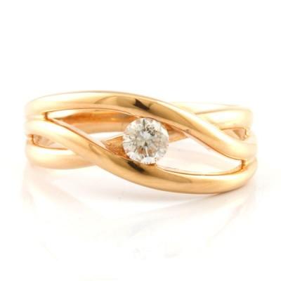 K18PG リング 指輪 ダイヤモンド D0.20 9号 一粒 18金 K18ピンクゴールド ギフト プレゼント 中古