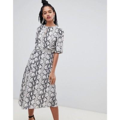 ミス セルフリッジ Miss Selfridge レディース ワンピース ワンピース・ドレス midi dress with metal trim in snake print Grey