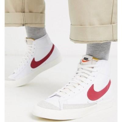 ナイキ Nike メンズ スニーカー シューズ・靴 Blazer Mid '77 trainers in white/red ホワイト/レッド