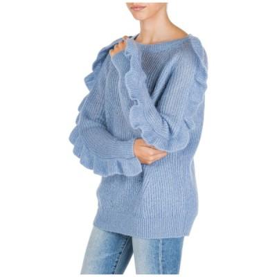 セーター レディース ブルマリン BLUMARINE WOMEN'S JUMPER SWEATER CREW NECK ROUND NEW LIGHT BLUE 7AA