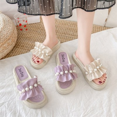 レディース ミュール スリッパ ビーチサンダル フリル 夏 コンフォートシューズ 可愛い 厚底 女子靴
