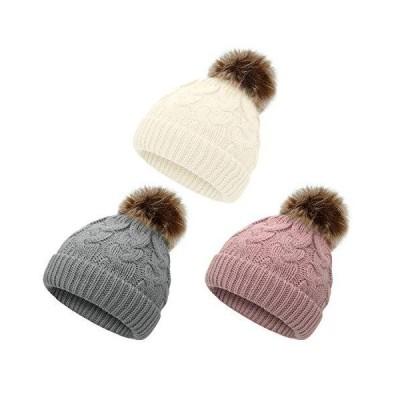Zando ベビーハット 女の子用 幼児 ポンポン付き ビーニー キッズ 冬 帽子 幼児 キャップ ニット 暖かい