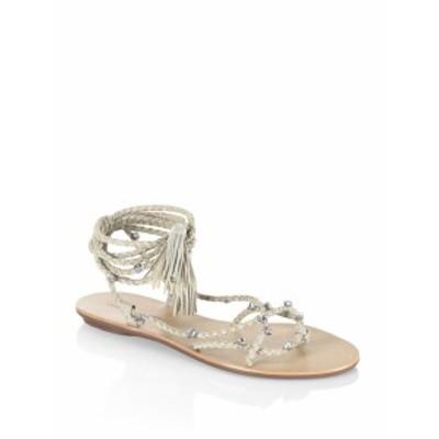 レフラーランダル レディース シューズ サンダル Bo Glitter Metallic & Rhinestone Leather Wrap Sandals