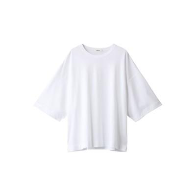 ebure エブール 超長綿スーピマコットン クルーネックオーバーサイズカットソー レディース ホワイト 38