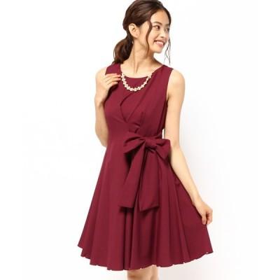 ドレス 【大きいサイズ有り! LL】パールビジューネックレス付きフロントリボンベルト ワンピース