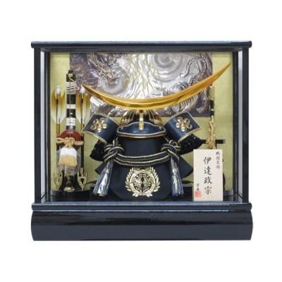 弓戸人形-12号伊達兜ケース飾りYN31608GKC-五月人形ケース(木製弓太刀)-五月人形-兜飾り-鎧飾り-ケース入り-伊達政宗-kabuto