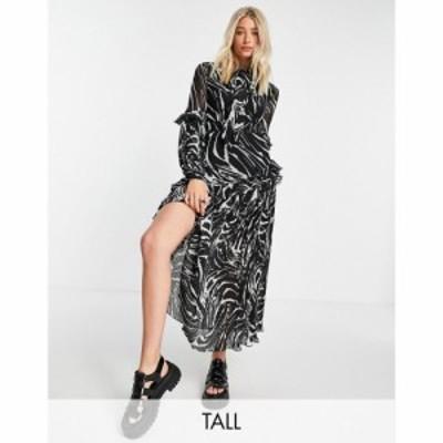 トップショップ Topshop Tall レディース ワンピース ミドル丈 ワンピース・ドレス animal print pleated midi dress マルチカラー