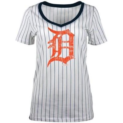 ベビー スポーツリーグ メジャーリーグ Detroit Tigers 5th & Ocean by New Era Women's Baby Jersey Pinstripe Ringer T-Shirt - White