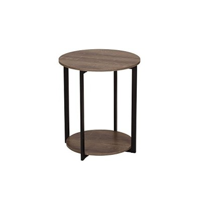 Household Essentials Wooden Side End Table with Storage Shelf   Ashwood