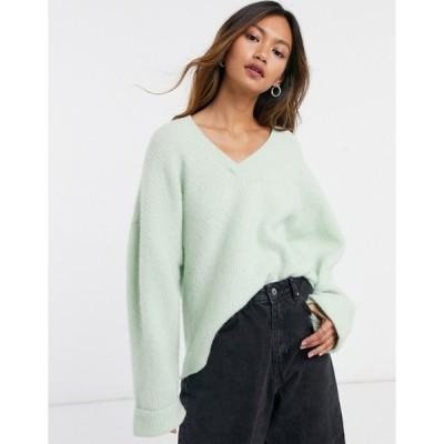 アンドアザーストーリーズ レディース ニット・セーター アウター & Other Stories wool oversize v-neck sweater in green
