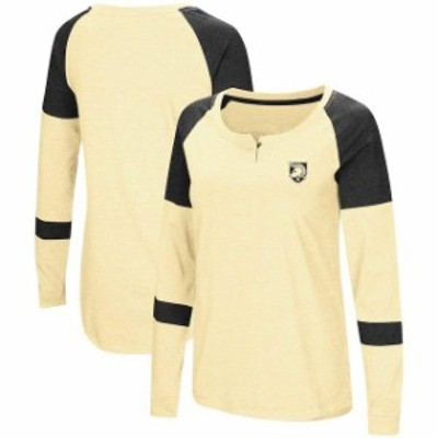 Colosseum コロセウム スポーツ用品  Colosseum Army Black Knights Womens Gold Dorothy Henley Raglan Long Sleeve T-Shirt