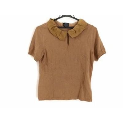 ランバンコレクション LANVIN COLLECTION 半袖セーター サイズ38 M レディース - ブラウン シルク【中古】20201124