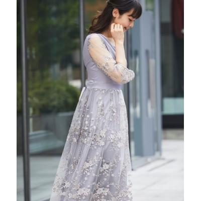 (SMILE ORCHID/スマイルオーキッド)花柄刺繍ワンピースパーティードレス/レディース グレージュ
