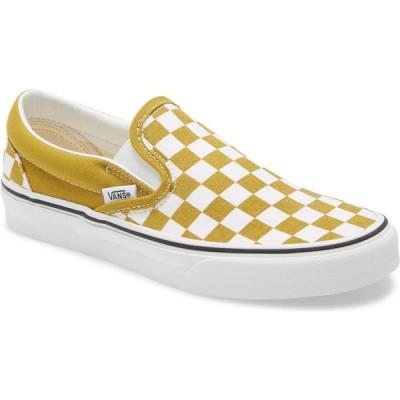 ヴァンズ VANS レディース スリッポン・フラット スニーカー シューズ・靴 Classic Slip-On Sneaker Checkerboard Olive Oil/White