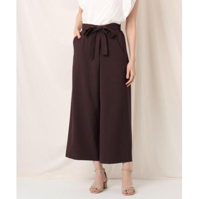 【クチュールブローチ】 リネンライクラップ風クロップドパンツ レディース ブラウン 38(M) Couture Brooch