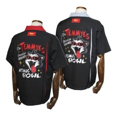 クリームソーダ  TE ATOMIC BOWL刺繍シャツ レッドブラック/グレーブラック CREAM SODA