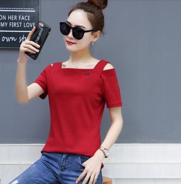 上衣 T恤 短袖實拍 S-3XL 最純棉修身顯瘦純色一字領短袖t恤女H350C.9719歐韓依家