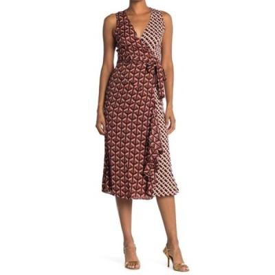 ダイアン フォン ファステンバーグ レディース ワンピース トップス Moira Mixed Print Silk Blend Wrap Midi Dress GEO TILES