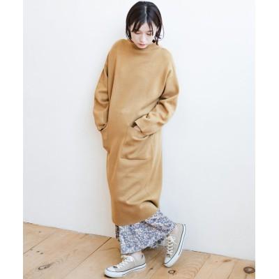 【ハコ】 お仕事にもカジュアルな重ね着にも使えて便利なミラノリブニットワンピース レディース ベージュ S haco!