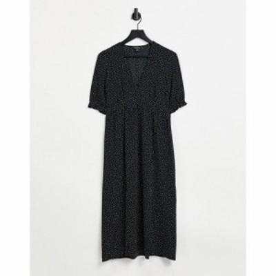 モンキ Monki レディース ワンピース スリットワンピース ワンピース・ドレス Reese Midi Dress With Slit Front In Black Polka Print