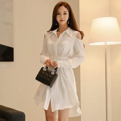 シャツワンピース ホワイトオ フショルダー おしゃれ ショート丈ワンピース 長袖 ロングシャツ ベルト付き 韓国風
