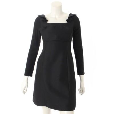 【フォクシー】Foxey 17年 チューリップラッフル ドレス ワンピース 37076 ブラック 38 【中古】【正規品保証】59214