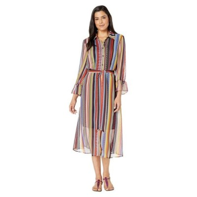 ECI レディース ワンピース トップス Multi Tribal Print Stripe Chiffon Midi Shirtdress