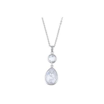 ラプレシオサ ネックレス La Preciosa Sterling Silver Cubic Zirconia Floral-designed Reversible Teardrop