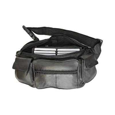 New Large Genuine Leather Waist Bag Fanny Pack with Two Cell Phone Pockets and Six Exterior Pockets【並行輸入品】