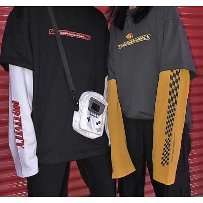 韓国ファッション トップス  レディース トレーナー ロンT 長袖 重ね着風 原宿 ストリート