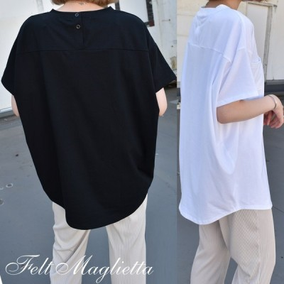 Tシャツ レディース 半袖 バックヘンリーネック ドルマンスリーブ 無地 トップス tシャツ ゆるTシャツ 大きいサイズ カジュアル 着痩せ 体型カバー 背中ボタン