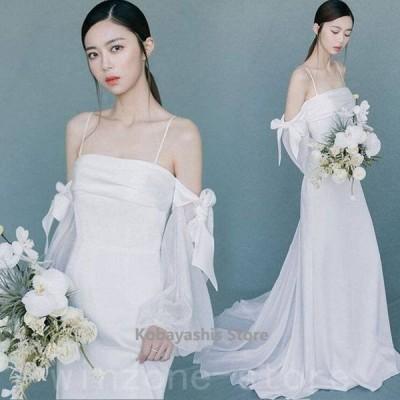 ホワイトウェディングドレスサテン結婚式ドレスボートネックオフショルダーキャミドレスパフスリーブリボンお洒落花嫁プリンセスドレス