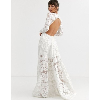 エイソス レディース ワンピース トップス ASOS EDITION wedding dress with open back and floral embroidery