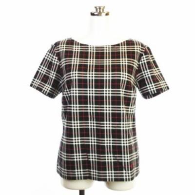 【中古】BURBERRY LONDON チェック カットソー Tシャツ ラウンドネック コットン 半袖 ブラック系 40