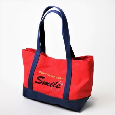 ポジティブトートバッグ 赤×紺 Lサイズ