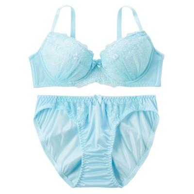 シンプルフラワーブラジャー・ショーツセット(F90/3L) (ブラジャー&ショーツセット)Bras & Panties