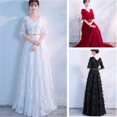 3色展開豪華結婚式二次会宴会ロングドレスウエディングドレス ロング丈Vネック XSSMLXLXXL6サイズ選択可