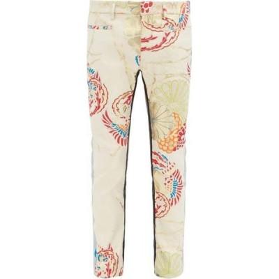 ハイダー アッカーマン Haider Ackermann メンズ スラックス ボトムス・パンツ Brocade-satin and leather trousers Cream