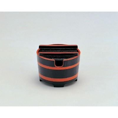 業務用漆器 ABS樹脂 桶型ガリ入れ 黒木目天朱(切込有)    10.8φ×8.3cm