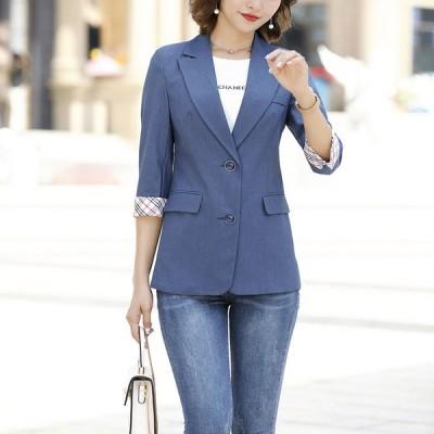 7分袖 ジャケット レディース 夏 テーラードジャケット 通勤 OL オフィス 大きいサイズ サマージャケット スーツジャケット 黒 白 ピンク