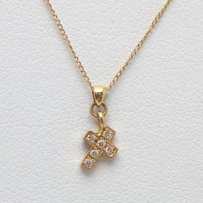 K18 Little emblem リトルエンブレム クロスネックレス 52cm ダイヤモンド 0.03ct 18金 ゴールド 十字架 12886