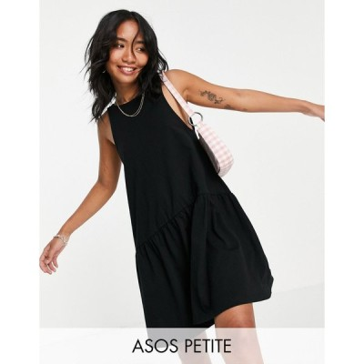エイソス ミディドレス レディース ASOS DESIGN Petite sleeveless smock dress with v back in black エイソス ASOS ブラック 黒