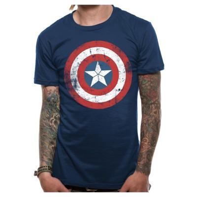 CAPTAIN AMERICA キャプテンアメリカ (80周年記念 ) - SHIELD DISTRESSED / Tシャツ / メンズ 【公式 / オフィシャル】(L)