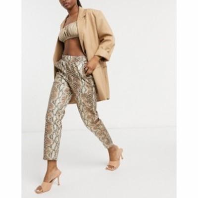 エイソス ASOS DESIGN レディース ボトムス・パンツ Hourglass Leather Look Peg Trouser In Snake マルチカラー