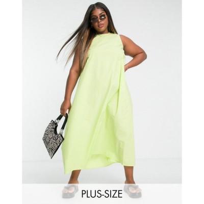 ネイティブユース ドレス 大きいサイズ レディース Native Youth Plus oversized swing dress in lime poplin エイソス ASOS